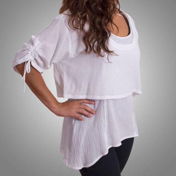 White cotton gauze tank and cropped top set