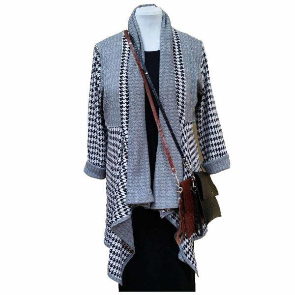 Houndstooth knit long drape jacket