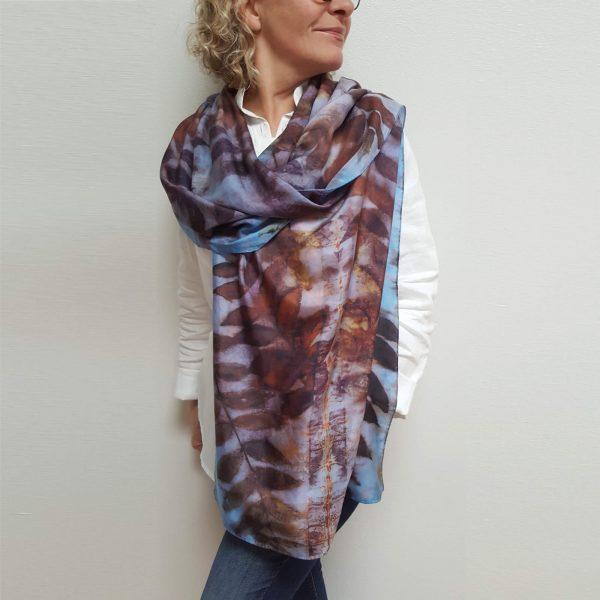 Black walnut eco dyed silk scarf