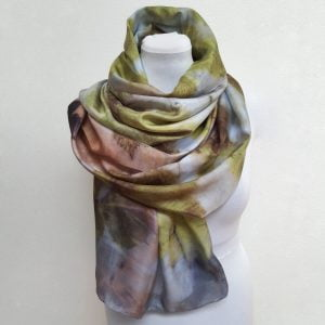 Eco printed silk scarf with chestnut on blue and green