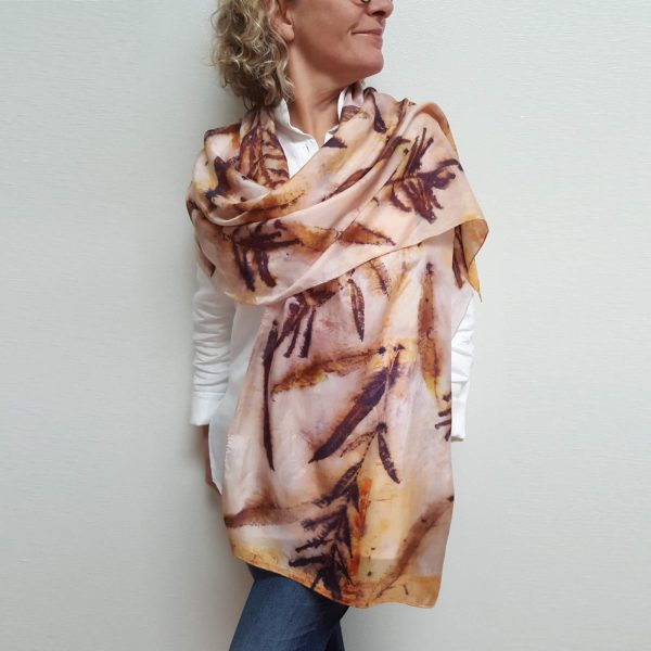 Fireweed eco dyed silk scarf