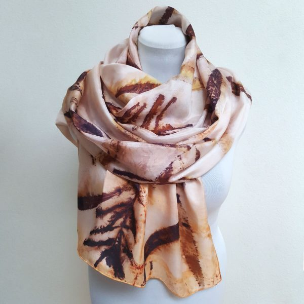 Eco printed silk scarf with fireweed