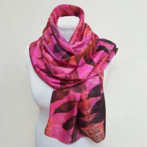 Eco printed silk scarf with black walnut on pink