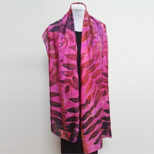 Black walnut on pink eco dyed silk scarf