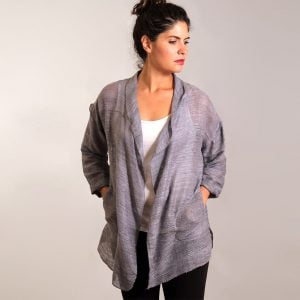 Silver mesh silk cardigan jacket