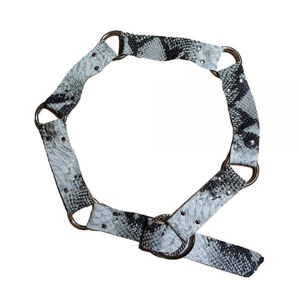 Snake embossed cowhide belt