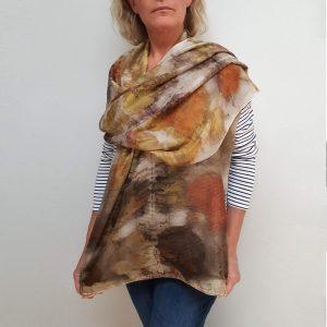Eco printed silk scarf with Heuchera plant