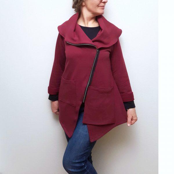 Wine bamboo knit zipper jacket