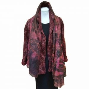 Wool jacket with eco-dyed silk scarf