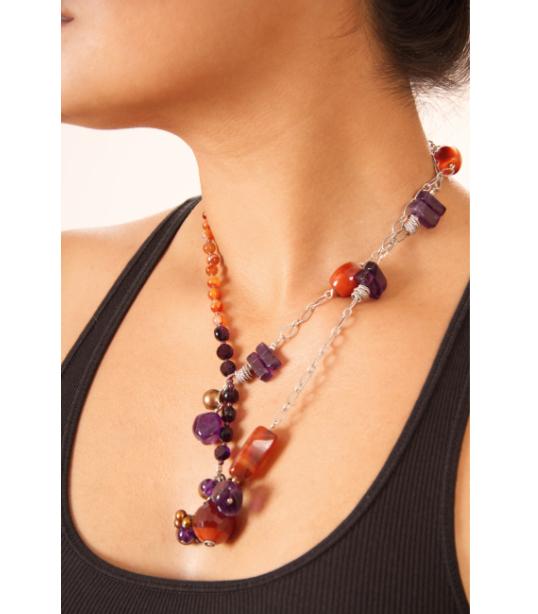Amethyst Carnelian asymmetrical necklace