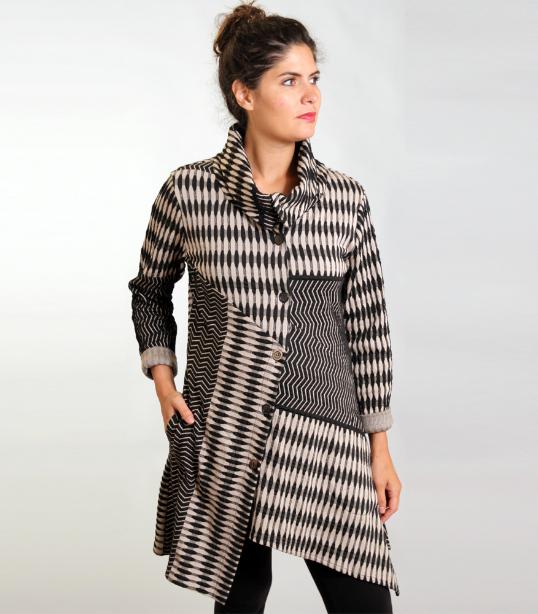 Beige black knit asymmetrical jacket