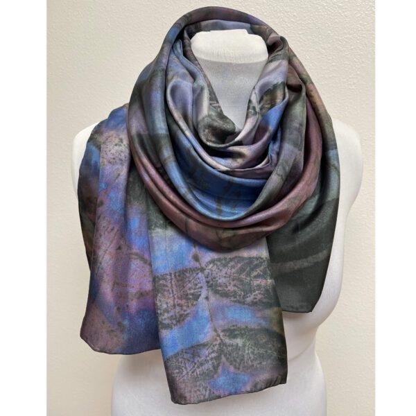 eco printed blue purple silk scarf with black walnut