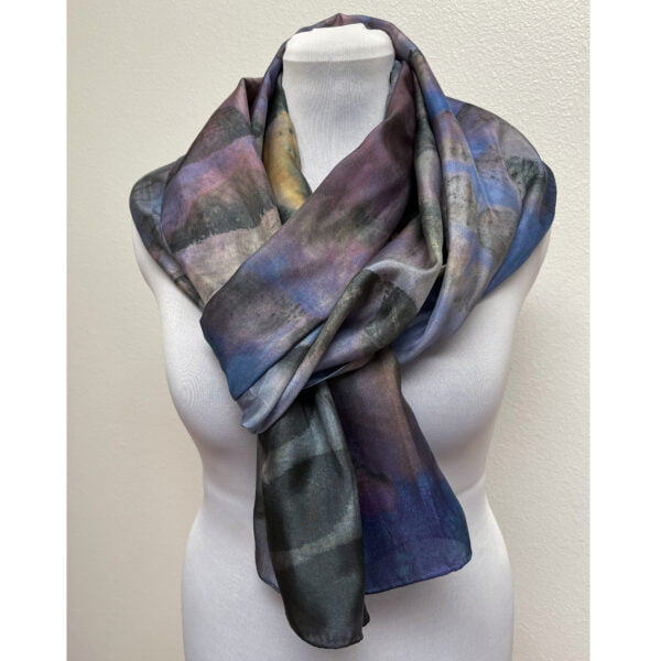Eco printed silk scarf with black walnut and blue purple (reproduction)