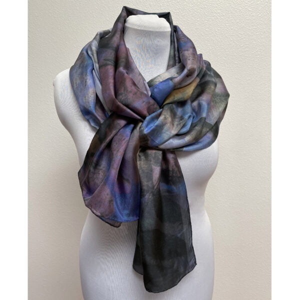 Eco printed silk scarf with black walnut on blue and purple
