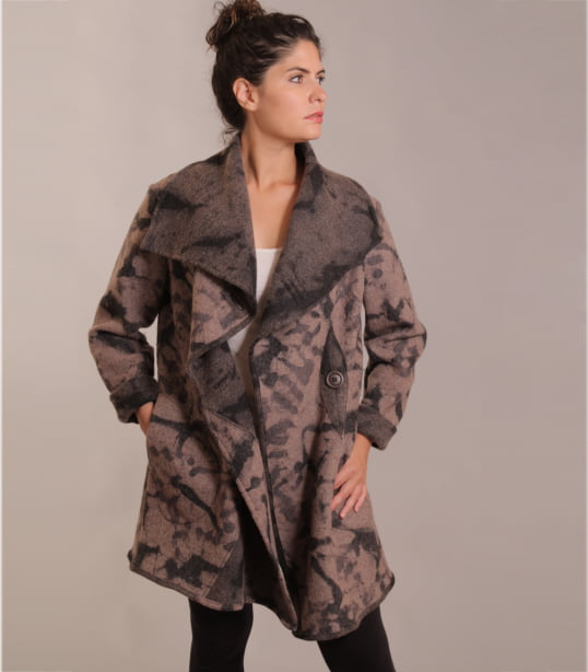Hand dyed brown black women's wool jacket