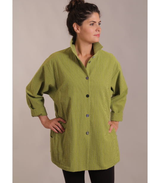 Chartreuse hand dyed seersucker shirt jacket