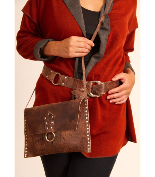 Distressed cowhide purse and belt
