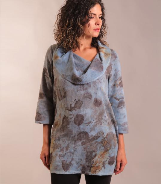 Eco dyed cotton gauze tunic