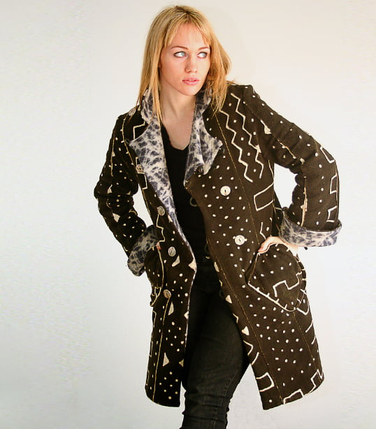 Reversible mudcloth and wool jacket