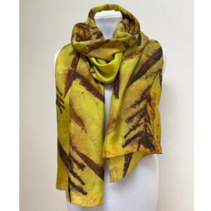 Eco printed chartreuse green silk scarf with fireweed (reproduction)
